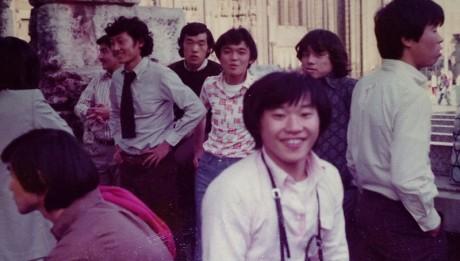 読売クラブの西ドイツ遠征の一コマ。松木安太郎氏、小見幸隆氏の姿が見える